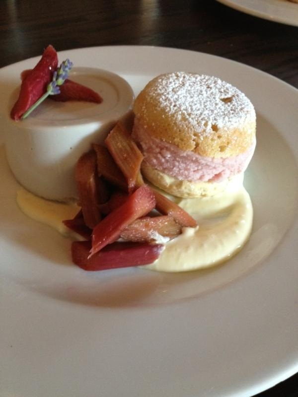 Lavendar panna cotta, poached rhubarb, strawberry ice cream whoopie ...