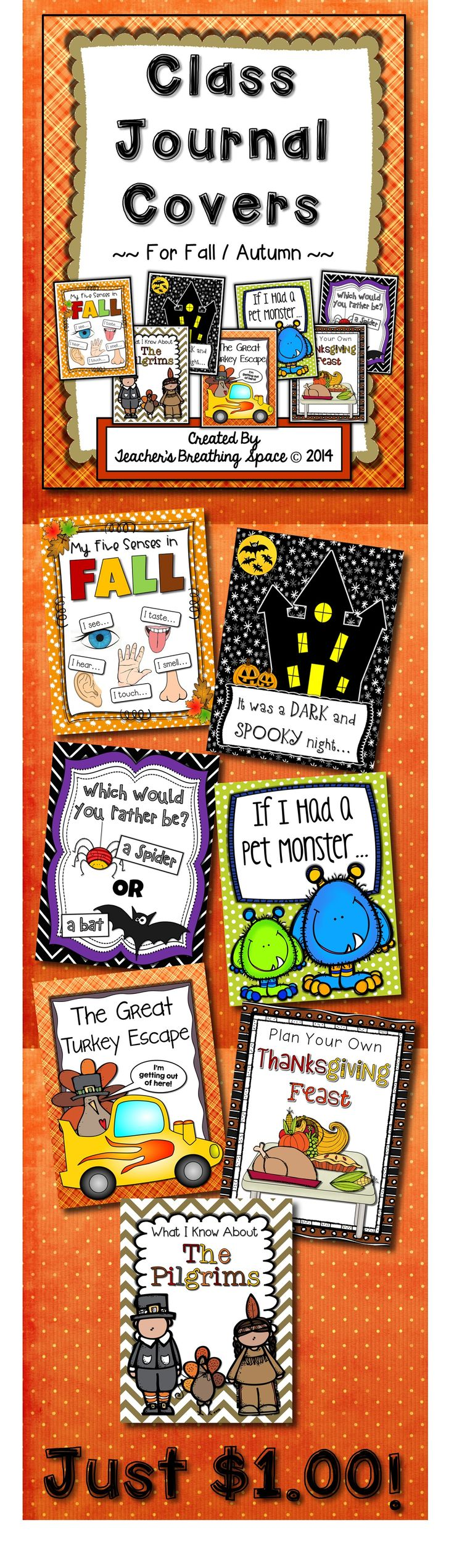 Whole Class Journal Covers for Fall / Autumn --- Writing Topics for October and November --- Just $1.00!
