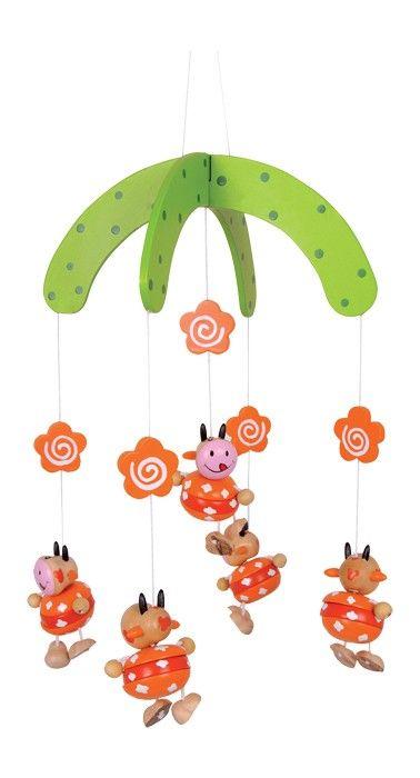 Een leuke in zachte kleurnuances gelakte houten mobile. De 5 grappige koeien (l: 65 cm) met hun leuke gezichten brengen kinderogen aan het stralen!  Afmetingen: 22 x 22 x 38 cm - Base Toys houten mobiel koeien