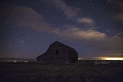 Old barn at night, by Leader Saskatchewan