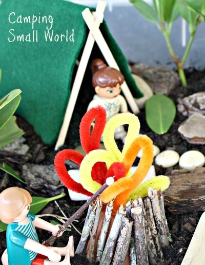 Camping Small World and Sensory Play-Create your own camp site. Fun activity for toddlers and preschoolers!