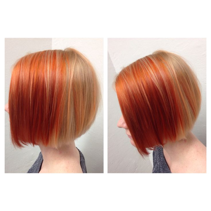 Copper and blond, short bob