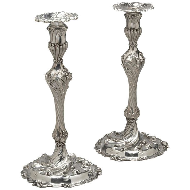 Superb: Pair of Sterling Silver Candlesticks | From a unique collection of antique and modern furniture at https://www.1stdibs.com/furniture/asian-art-furniture/furniture/