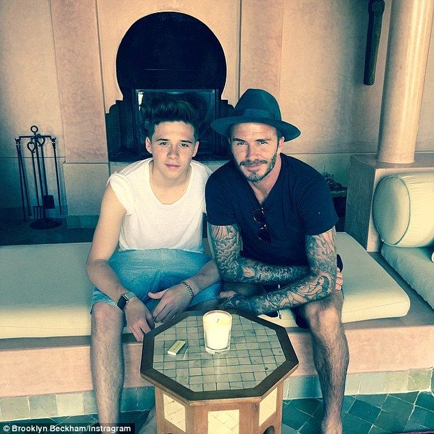 Happy birthday dad: Brooklyn Beckham paid tribute to his famous father in a snap added to his own Instagram account on Saturday morning