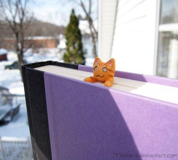 Nya Cat Bookmark - Orange Tabby version - Cat cute Book Mark - Quirky Fun Reading - Geek Kitty Neko