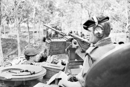 "pro-patria: "" Armoured Personnel Carrier Commander, Lance Corporal Rex Warren from SA, watches for Viet Cong as he moves through the rubber plantation searching for the enemy, the day after the battle of Long Tan. """