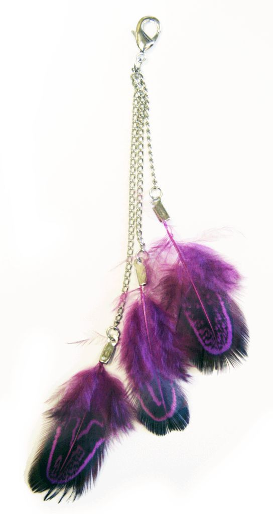 Charm Large Feather - Purple with Chains