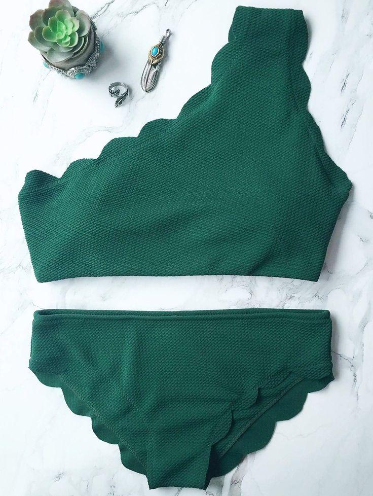 $11.99 Wireless Scalloped One Shoulder Bikini - BLACKISH GREEN M