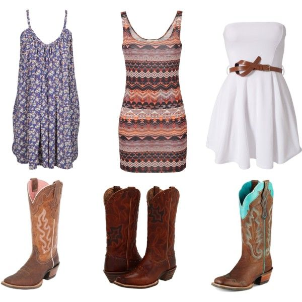 cowboys and sun dresses: Cowboy Boots, Country Girls Fashion, Country Outfit, Country Style, Clothing, Country Girls Style, White Dresses, Sun Dresses, Cowgirls Boots