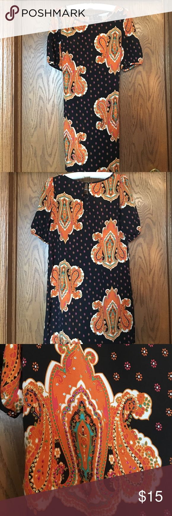 Wedding Guest Shift Dress Black and orange beautifully patterned dress with beading embellishment - great shape and a very flattering dress hits right above the knee  I ACCEPT OFFERS AND BUNDLE DISCOUNTS!!!!! Dresses
