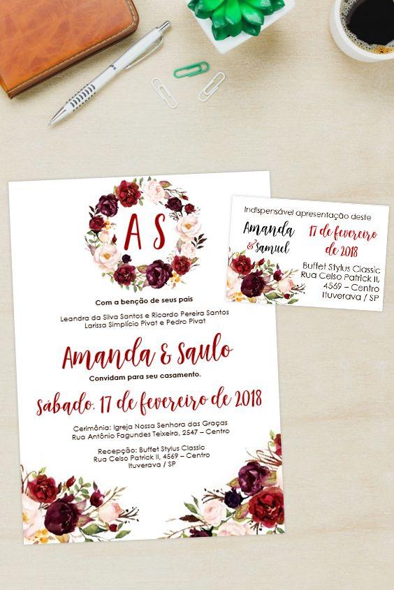 Convite Marsala Floral Editavel Word Clique No Pin E Visite O