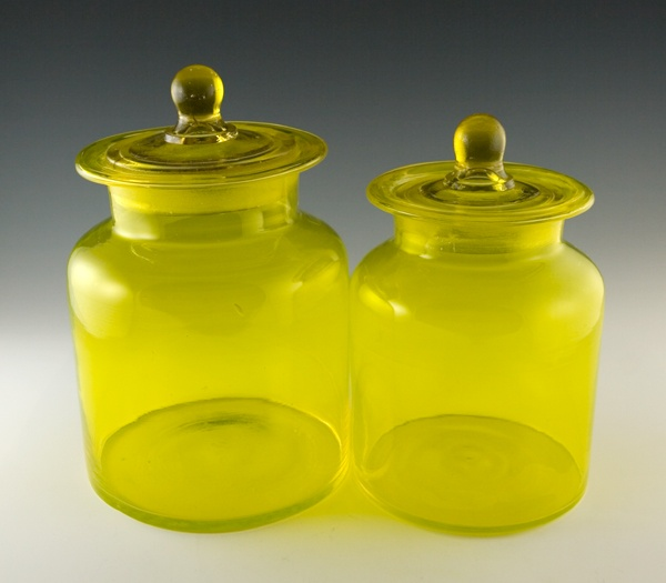 retro art glass lemon yellow vintage kitchen canister set