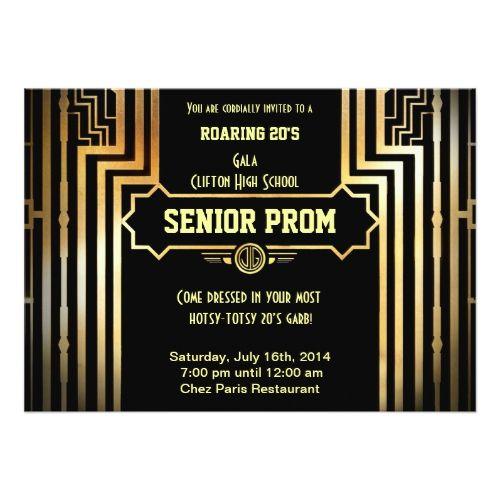 Art Deco Gatsby Style Prom Invitation Roaring 20u0027s Card  Prom Invitation Templates