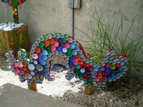 Reuse, Recover, Repurpose, Bottle Cap Bugs and Festive Flowers, Racine Art Museum, Racine, Wisconsin