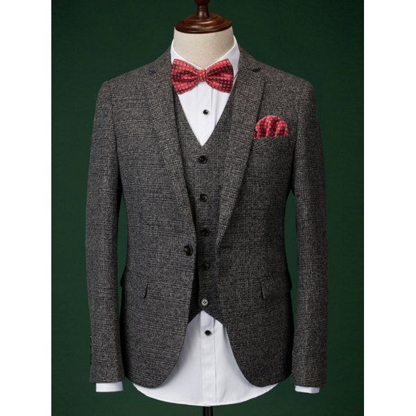 Formal Men's Houndstooth Blazer + Vest + Pants With Bow Tie And Scarves #jewelry, #women, #men, #hats, #watches, #belts