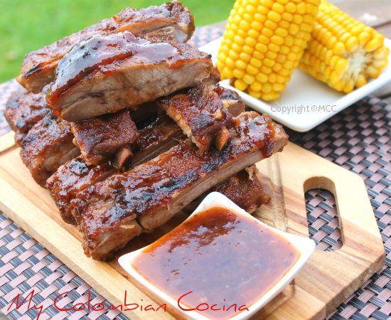 Costillas de Cerdo en Salsa BBQ de Guayaba or Spare Ribs in Guava's BBQ Sauce. Colombia, cocina, receta, recipe, colombian, comida.