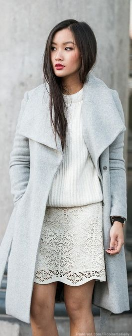 Winter grey and white outfit