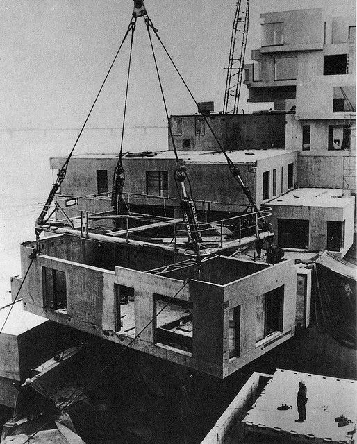 Construction of Habitat 67 for the 1967 Montreal Expo (aka Expo 67)