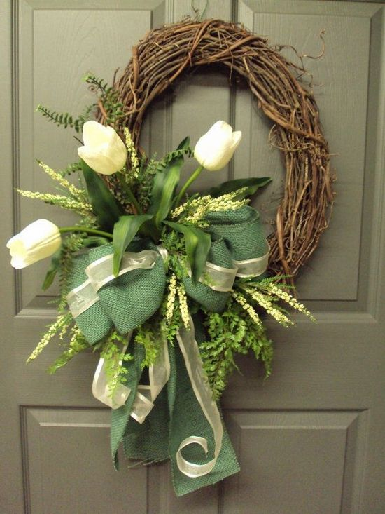 front door easter wreaths ideas with flowers white tulips green ribbons vine branches