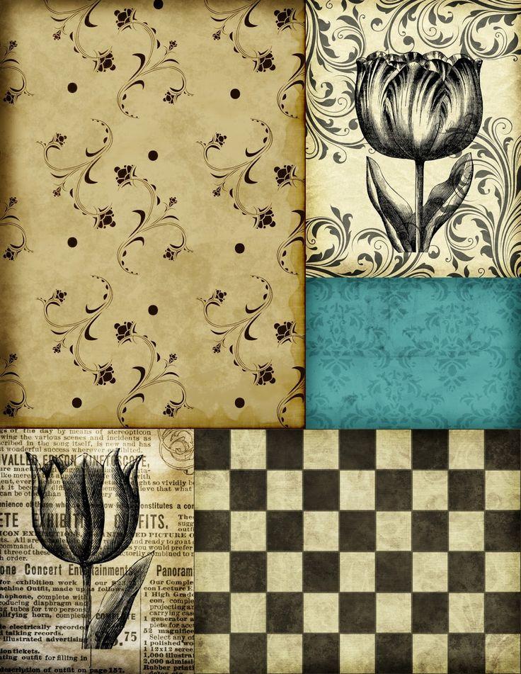 Ephemeras Vintage Garden: Free Printable - Tulip Collage Page