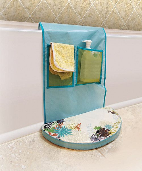 """Bath time is the best part of the day for water babies, but it can definitely be hard on Mommy's knees. Give them a break with this water-resistant foam kneeling pad that boasts mesh pockets on the inside of the tub to store toys as well as on the outside to house bathing necessities. To quickly dry the mat—and the toys!—simple hang it on a towel rack by its hook and loop tab. 16"""" W x 38"""" H ..."""