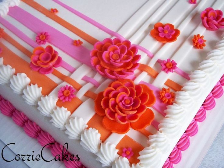 Beautiful sheet cake design from Corrie Cakes! This image provides ...