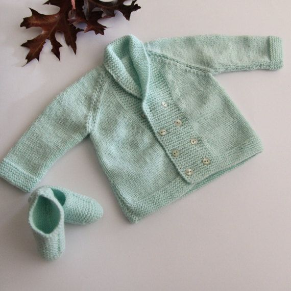 Baby pastel green set coat and shoes baby set by ProjectKnitting