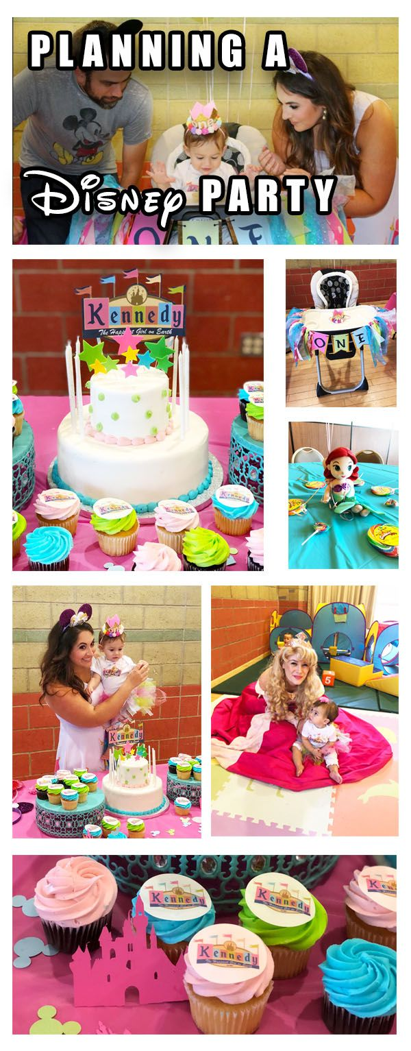 Disney Birthday Party Planning Tips and Decoration Ideas. Disney Themed First Birthday with Disney Princess and Vintage Disneyland decorations.