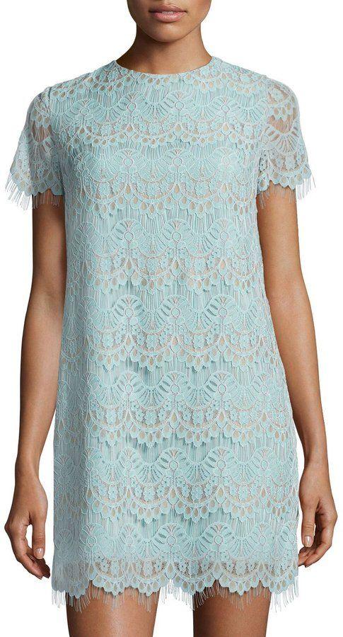 Cynthia Steffe Marley Short-Sleeve Scalloped Lace Shift Dress