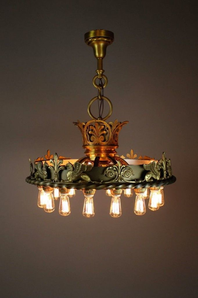 Ca 1920 a superb and extremely rare commercial grade bare bulb chandelier in the beaux arts style weighing in at 80 lbs this piece takes 20 lights