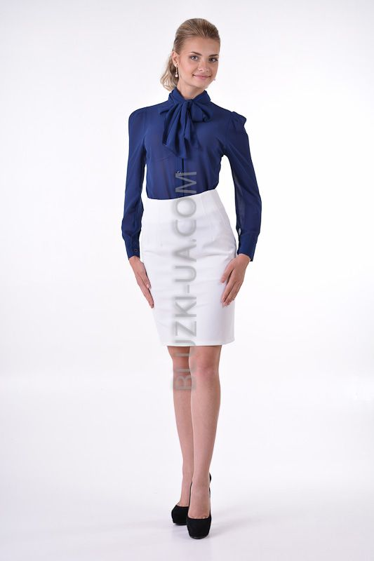 Шифоновая блузка с шарф-бантом темно-синяя в стиле Коко Шанель, купить онлайн. Интернет-магазин БЛУЗКИ UA, Украина - женская одежда и женские блузы.