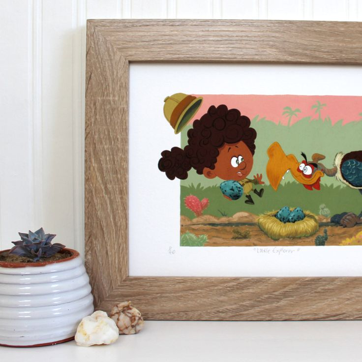 Little explorer - Adventure art gift - Explorer art print - Explorer art gift - Whimsical kids room - Black girl painting - Limited edition print by #Terrapinandtoad