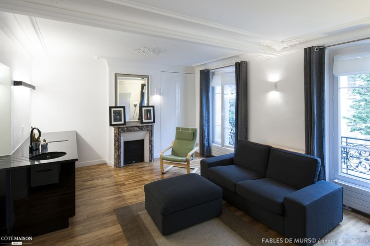 Un salon moderne dans appartement haussmannien avec for Salon haussmanien