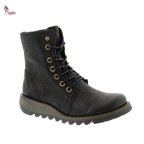 Fly London Womens SUTI070FLY Black Leather Boots 38 EU - Chaussures fly london (*Partner-Link)