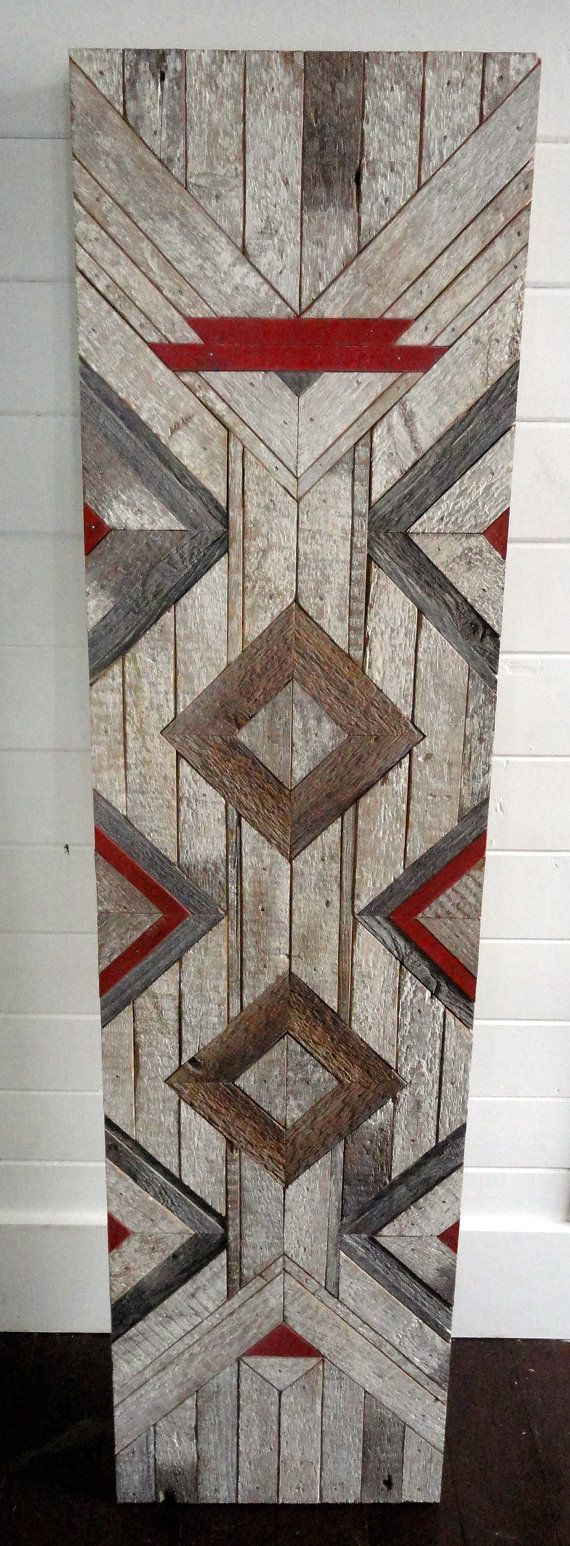 Reclaimed Chevron Pattern Wall Hanging by StoneHillMillworkCo, $125.00  Like our Facebook page! https://www.facebook.com/pages/Rustic-Farmhouse-Decor/636679889706127
