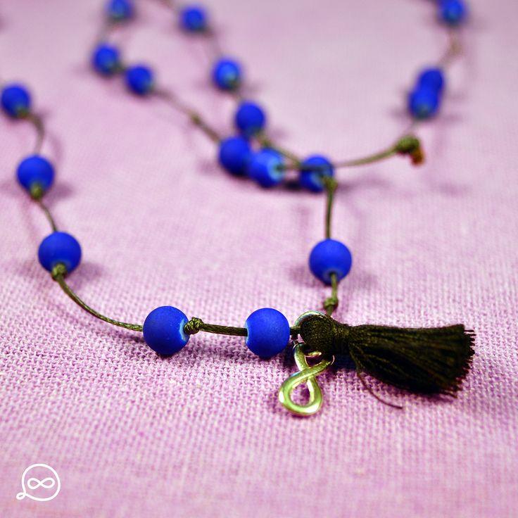 Royal Blue Matte Beads & Black Tassel Necklace. #tufatufa