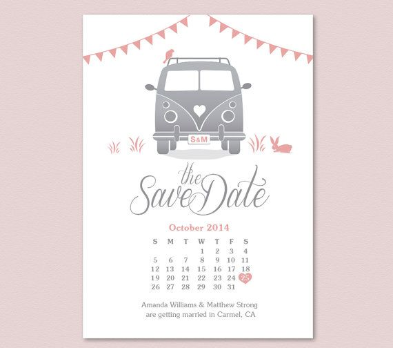 Calendar Save the Date - VW Van, by FROM LUCY WITH LOVE http://www.etsy.com/listing/183545209/