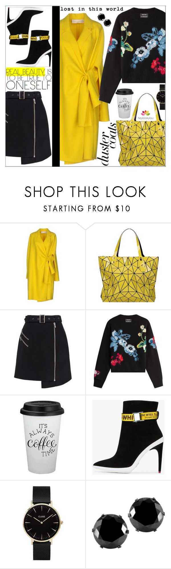"""""""Long Layers: Duster Coat No.2"""" by dani-elan ❤ liked on Polyvore featuring Victoria Beckham, Bao Bao by Issey Miyake, Cameo, Anthony Vaccarello, Off-White, CLUSE, West Coast Jewelry and LOOKY"""