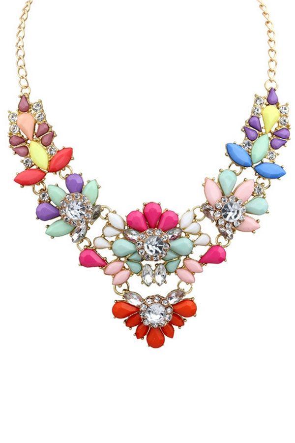 #Stunning #Multicolor Faux Stone #Necklace - OASAP.com