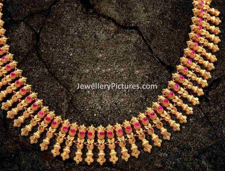 gold antique jewellery designs ruby studded traditional necklace