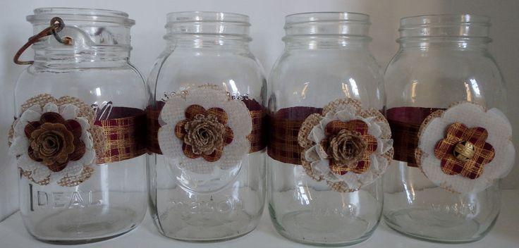 Primitive burgundy burlap mason jar dark red gold