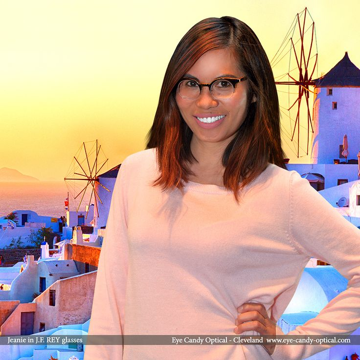 Jeanie is having fun on Santorini island in Greece wearing her designer glasses by J.F. Rey. Winter is coming to Cleveland so Eye Candy takes the finest European eyewear fashion to islands! Eye Candy Optical Cleveland - The Best Glasses Store! (440) 250-9191 - Book an Eye Exam Online or Over the Phone www.eye-candy-optical.com