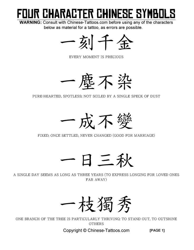 Chinese Tattoos - 4 Character Symbols  Chinese tattoo designs and symbols using 4 characters
