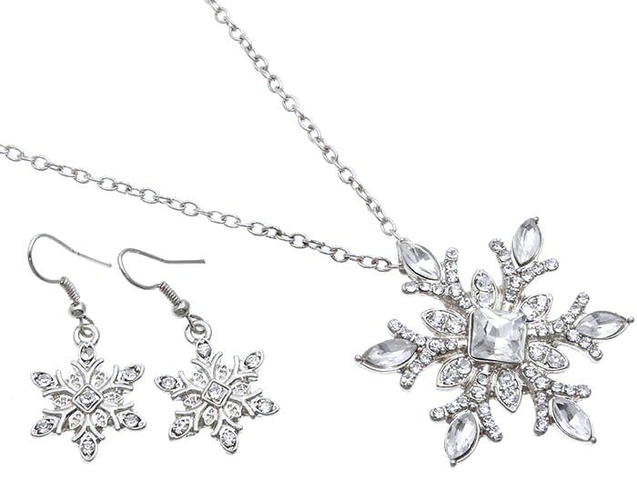 Fancy Silver Clear Crystal Snowflake Christmas Winter Holiday Necklace And Earrings Set Elegant Fashion Costume Jewelry