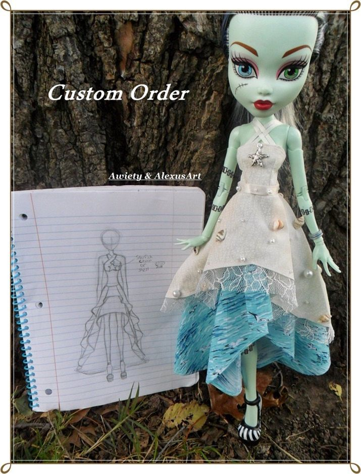 """Custom Order OOAK """"Out of the Sea"""" Dress & """"Silver Stars"""" Dress ONLY Fit Monster / Ever After 17 inch Dolls High Fashions Doll Clothes by awiety on Etsy"""