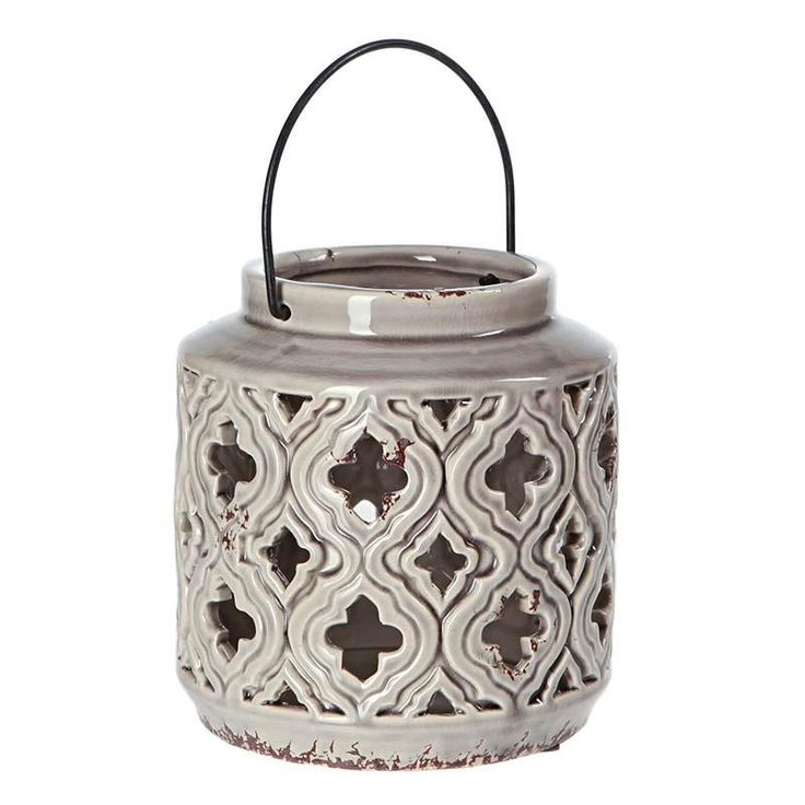 CERAMIC LANTERN IN GREY COLOR 17X17X17.5 - Lanterns - DECORATIONS