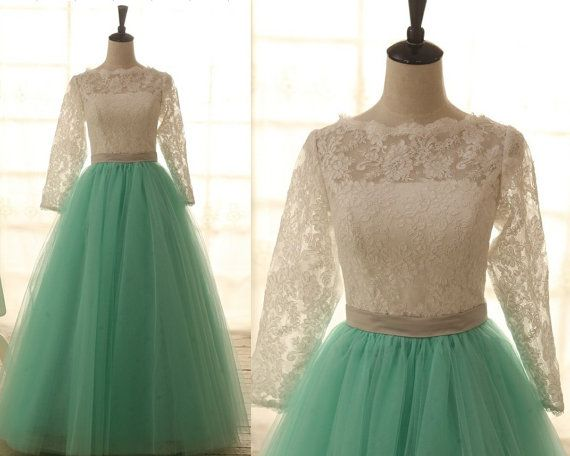 Lace Tulle Wedding Dress Long Lace Sleeves Blue Tulle ...