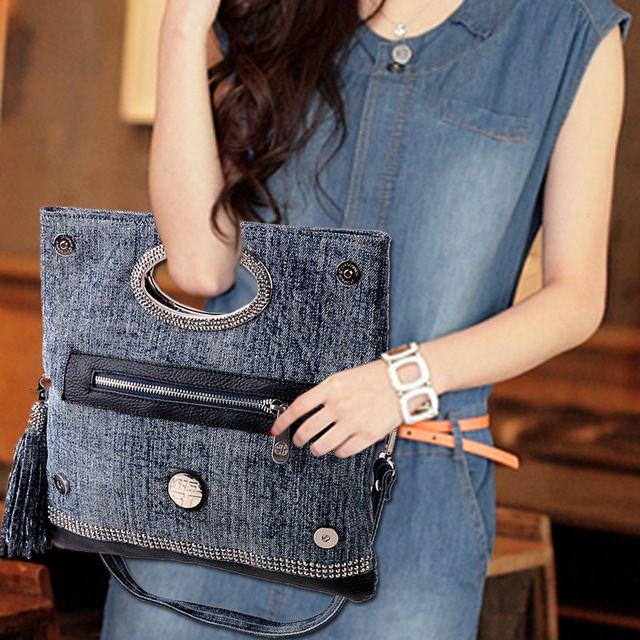 2014 nuevo reloj del cuero genuino decoración Denim bag Jeans bolso mano de hombro portátil bolsa con tres bolsas bolsas de diamantes 243