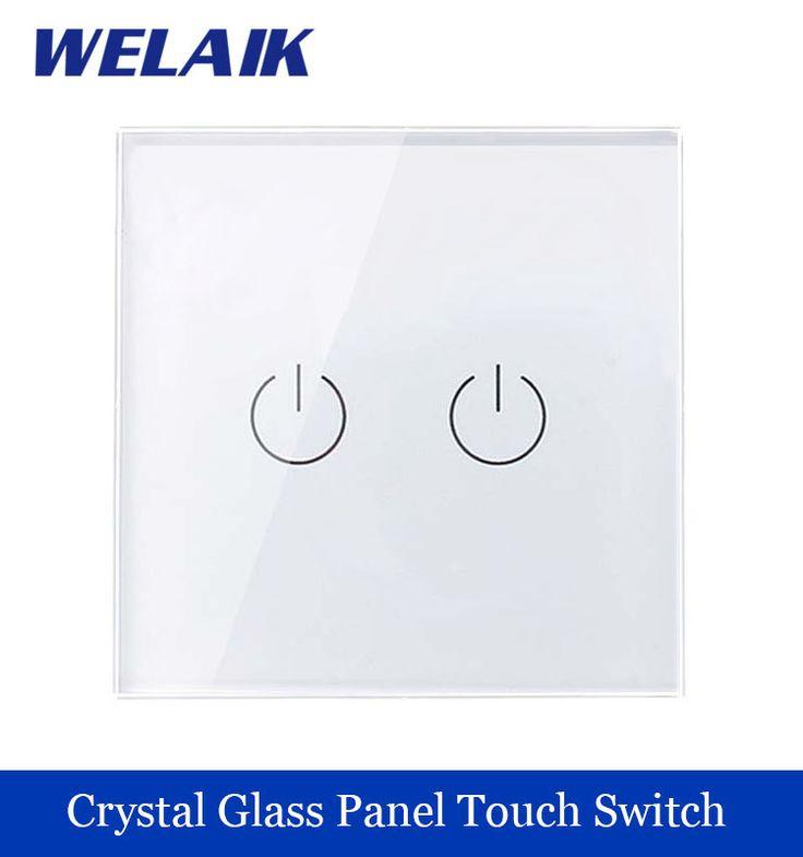 Nuevo Panel de Cristal interruptor de pared Estándar de LA UE 110 ~ 250 V del Interruptor Del Tacto Interruptor de Luz de Pared de Pantalla 2gang1way Blanco welaik Marca