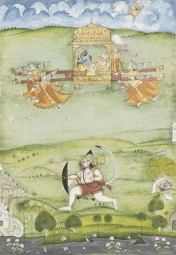 Rama and sita in a palanquin with hanuman Probably Bikaner, North India, circa 1800